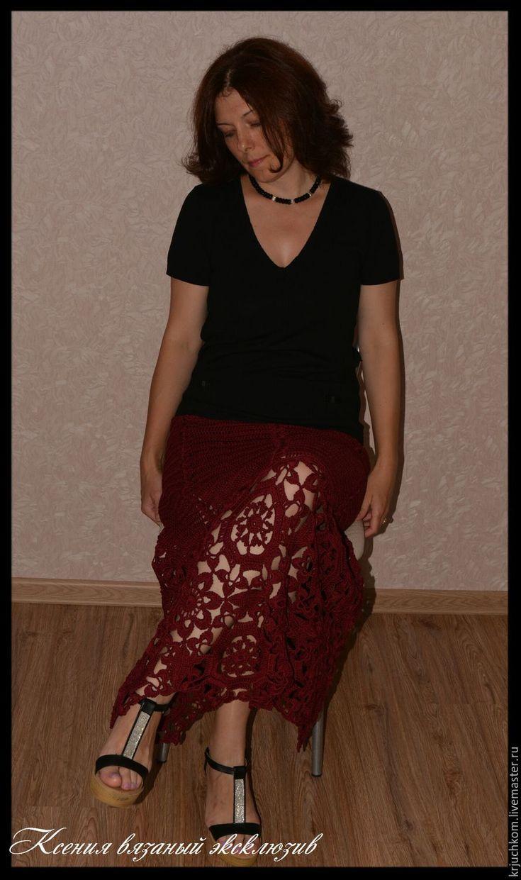 """Купить Юбка вязаная"""" Спелая вишня"""" - бордовый, Вязание крючком, вязание на заказ, вязаная юбка"""