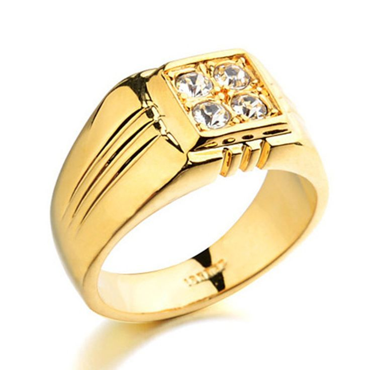 Real Gold Plated Men Rings With AAA+ CZ Zircon  Rings Party Wedding Engagement Rings Jewelry anillos hombre