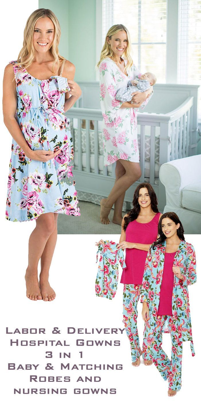 These beautiful maternity, labor and delivery, nursing gowns and robes have matching gowns for baby! Mom-to-be can feel beautiful in the hospital and while greeting guests. Great baby shower gift. #babyshower #maternity #robes #gowns #pregnancy #delivery #affiliatelink