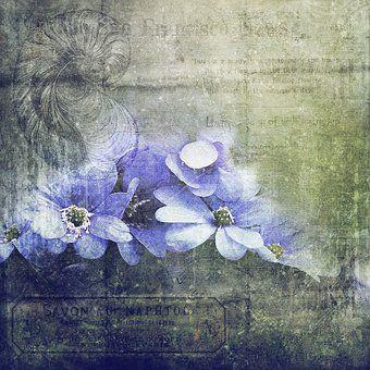 Scrapbook, Texture, Flowers, Green