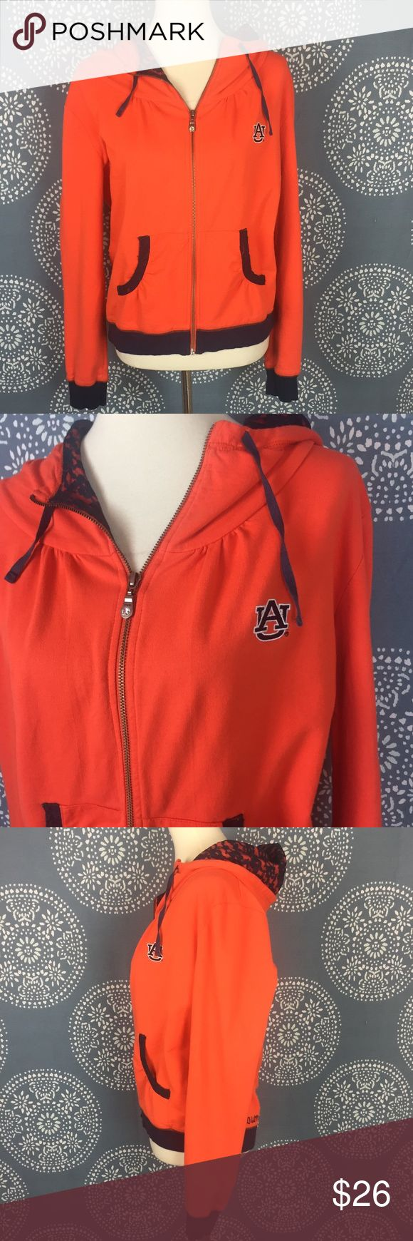 """Ug Apparel Auburn Womens Zip Up Hoodie Ug Apparel zip up Auburn hoodie. It is orange with navy trim and lettering. The inside of the hood and pocket trim are a navy lace. Excellent used condition. 21.5"""" armpit to armpit 23"""" long Ug Apparel Tops Sweatshirts & Hoodies"""