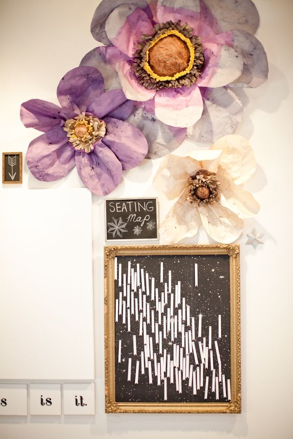 huge paper flowers and constellation seating chart! // photo by Kelly Kollar