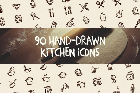 Check out 90 Hand-Drawn Kitchen Icons by Hand-drawn Goods on Creative Market