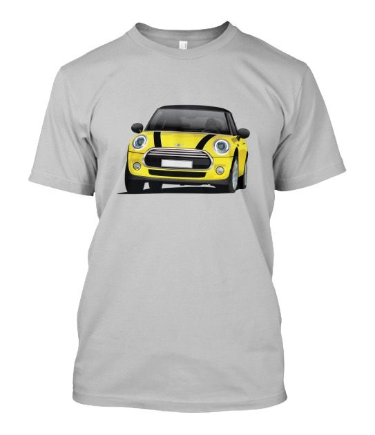 Yellow Mini Cooper S with black stripes and top t-shirt  #minicooper #mini #cooper #british #automobile #carillustration #illustration #tshirt #shirt #carshirts #minihatch #hothatch #teespring #yellowmini