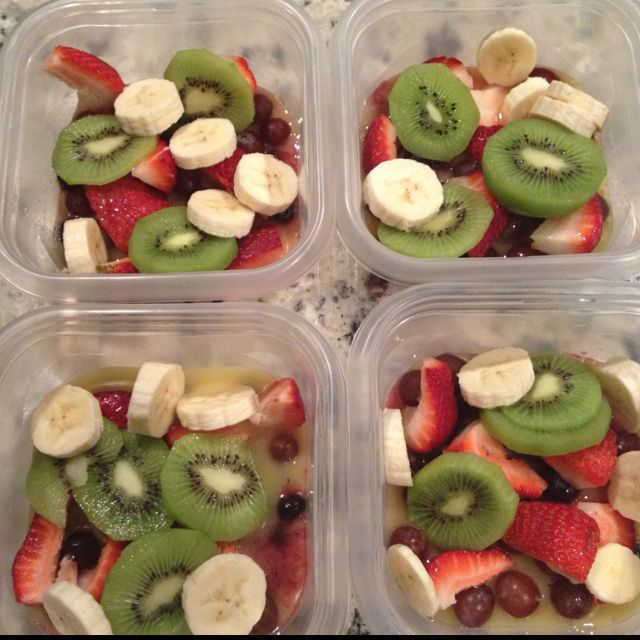 Make quick and easy fruit salads for the week. Use your favorite fruits: for Hunter's lunchbox:: strawberries, blueberries, kiwis, bananas, etc. Add a splash of orange juice and throw it in the freezer overnight. By the time lunch time rolls around, the fruit will be thawed but still cold, and you're ready for a healthy lunch.    BRILLIANT!