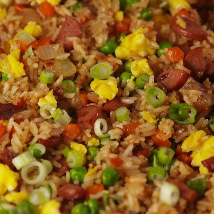 Hot dog fried rice video recipe food recipes