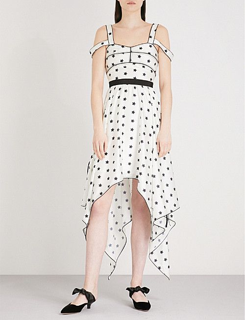 533d0f3f9b96 SELF-PORTRAIT Printed Star Handkerchief satin dress | Dress-ed to ...