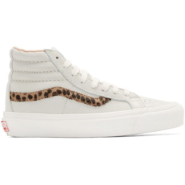 Vans Grey Leopard OG Sk8-Hi LX Sneakers ($120) ❤ liked on Polyvore featuring shoes, sneakers, leopard, hi tops, lace up sneakers, leopard high top sneakers, gray shoes and grey sneakers