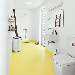 come home to high water copehagen floating home epoxy floor bathroom glassia sink tub vola faucets vipp laundry bin