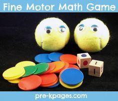 Fun fine motor math game for preschool or kindergarten via www.pre-kpages.com