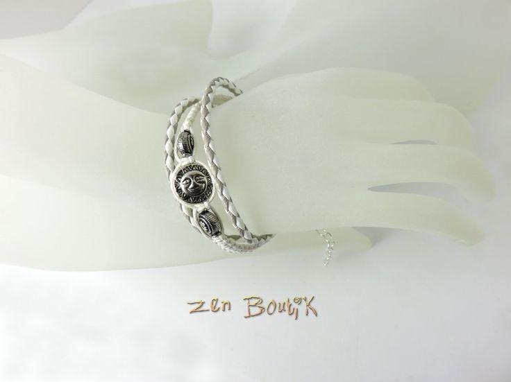 Bracelet Multirangs, Bracelet Soleil, Zen Chic, Coton Tressé Macramé et simili cuir, Bijoux Zen Boutik : Bracelet par zenboutik