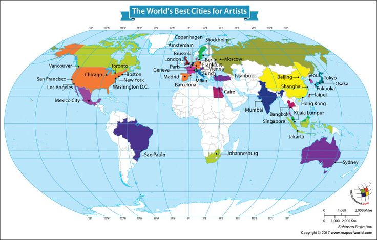 The 41 best thematic maps images on pinterest cards maps and world map showing the worlds best cities for artists publicscrutiny Gallery