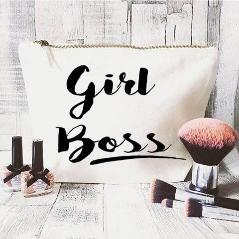 Girl Boss makeup bag- Cosmetic bag- Unique gift- Toiletry bag- large cosmetic bag- Inspirational quote- Personalised cosmetic bag-Quote bag