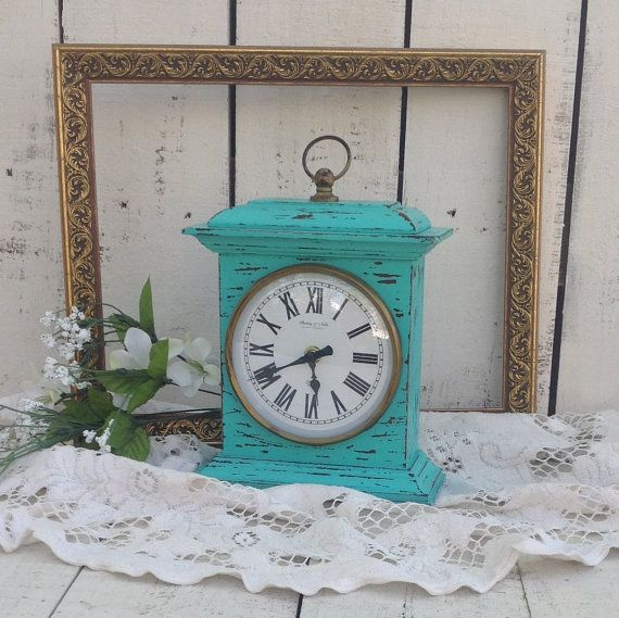 Time After Time - Turquoise Mantel Clock -