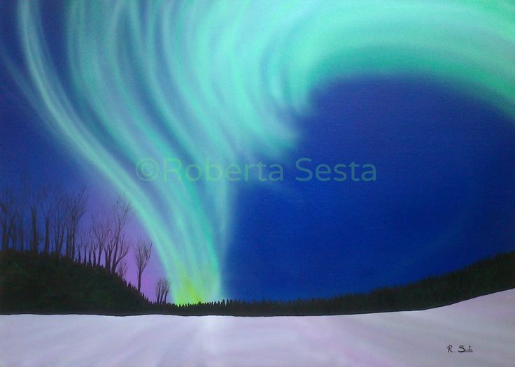 Aurora boreale Acrilico e aerografia su tela  Roberta Sesta