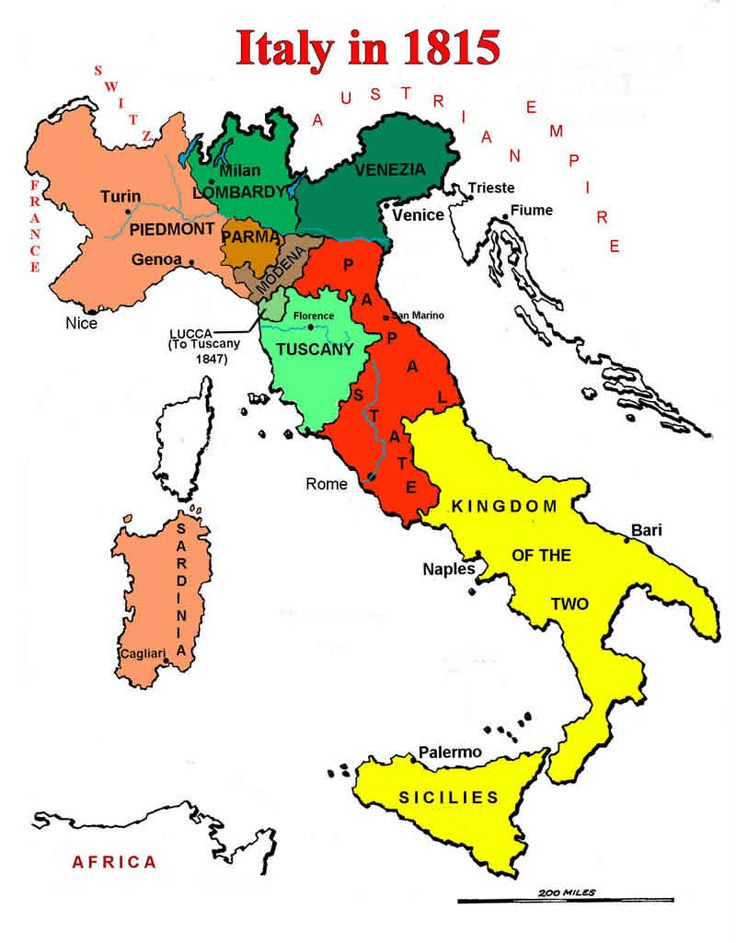 map of italian states in 1815