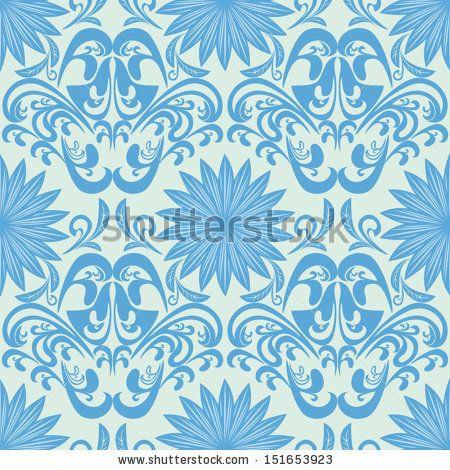 Blue seamless floral damask Wallpaper - stock vector