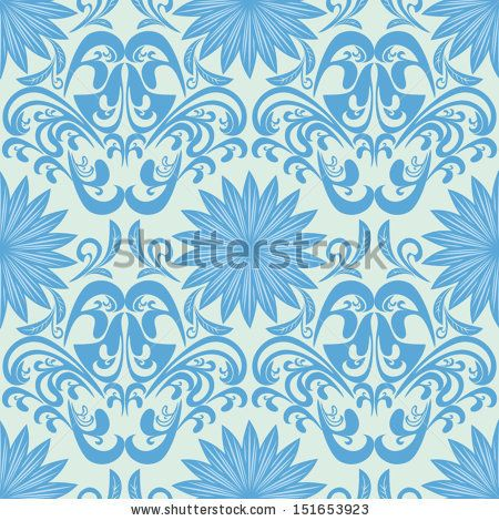 Blue seamless floral damask Wallpaper - stock vector