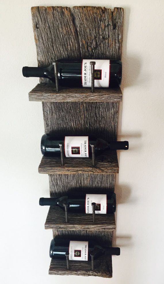 Reclaimed Wood Industrial Wine Rack                                                                                                                                                                                 Más