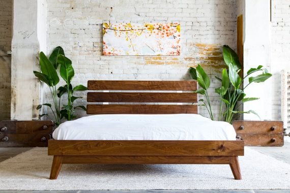 Platform Bed, Bed Frame, Midcentury Modern Bed, Walnut Bed, Modern Bed, Bed, Queen Bed, Bedroom Furniture, Hardwood Bed, Wood Bed, The Stowe