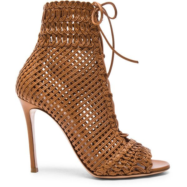 Gianvito Rossi Woven Leather Booties (132.250 RUB) ❤ liked on Polyvore featuring shoes, boots, ankle booties, ankle boots, booties, peep-toe booties, lace up peep toe booties, lace up high heel boots and lace up ankle booties