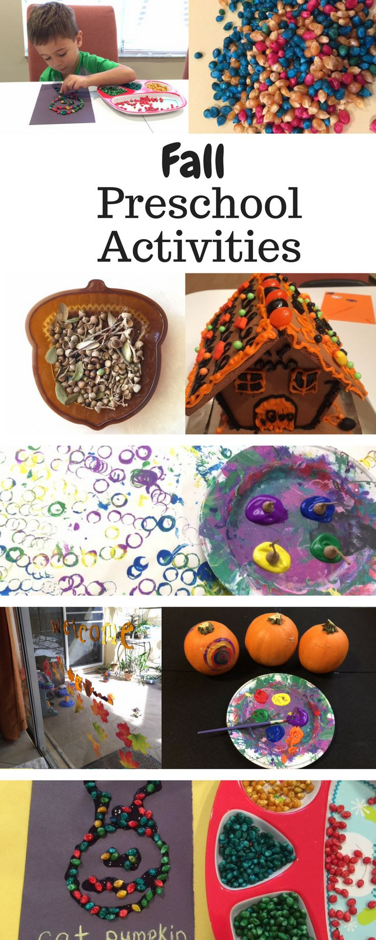 Fall and Halloween activities to do with toddlers or preschoolers to welcome the new season. Simple craft ideas for fall. Pumpkin painting, corn kernel pictures, decorating the house, candy house, acorn stamping and collecting.