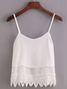 Lace Trimmed Layered Chiffon Cami Top.