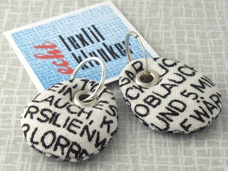 genähte Stoff-Ohrringe: Buchstaben // cloth earrings: letters by textilklunker via dawanda.com