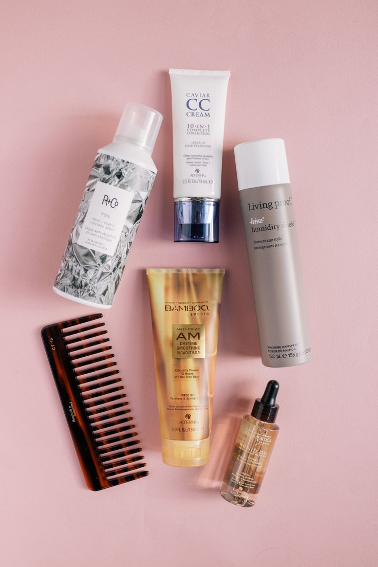 Gal Meets Glam 5 Best Products For Healthy Hair - Alterna Kendi Oil, Living Proof Humidity Shield, R+Co Static Control Spray, Alterna CC Cream, Alterna Smooth Blowout Cream & Mason Pearson Comb