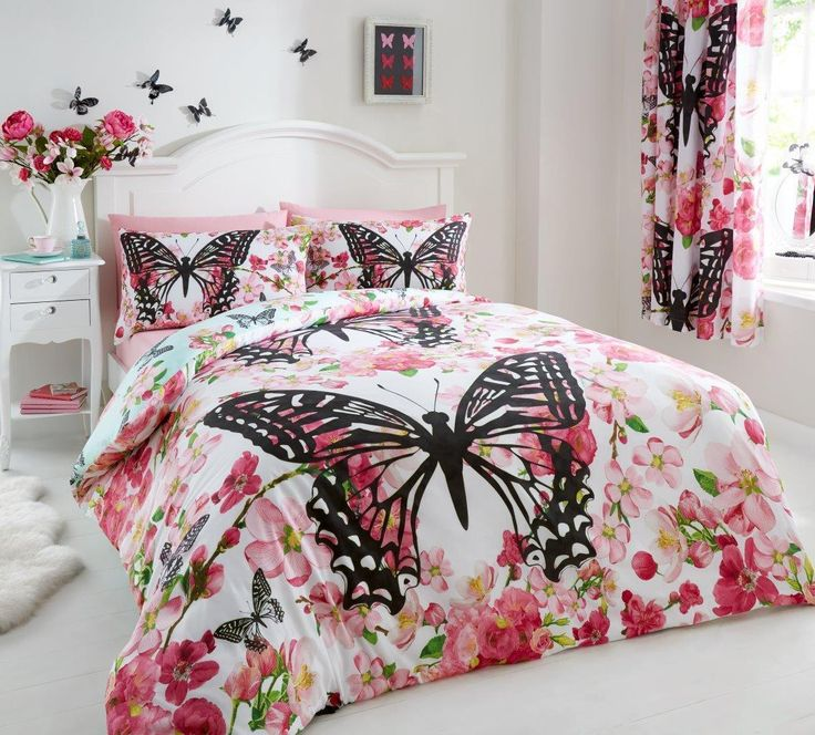 pink black u0026 red butterfly girls bedding twin full queen duvet cover comforter cover set