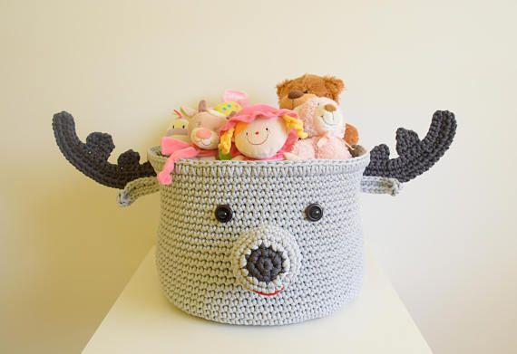 Crochet nursery basket moose Crochet moose Crochet elk Basket