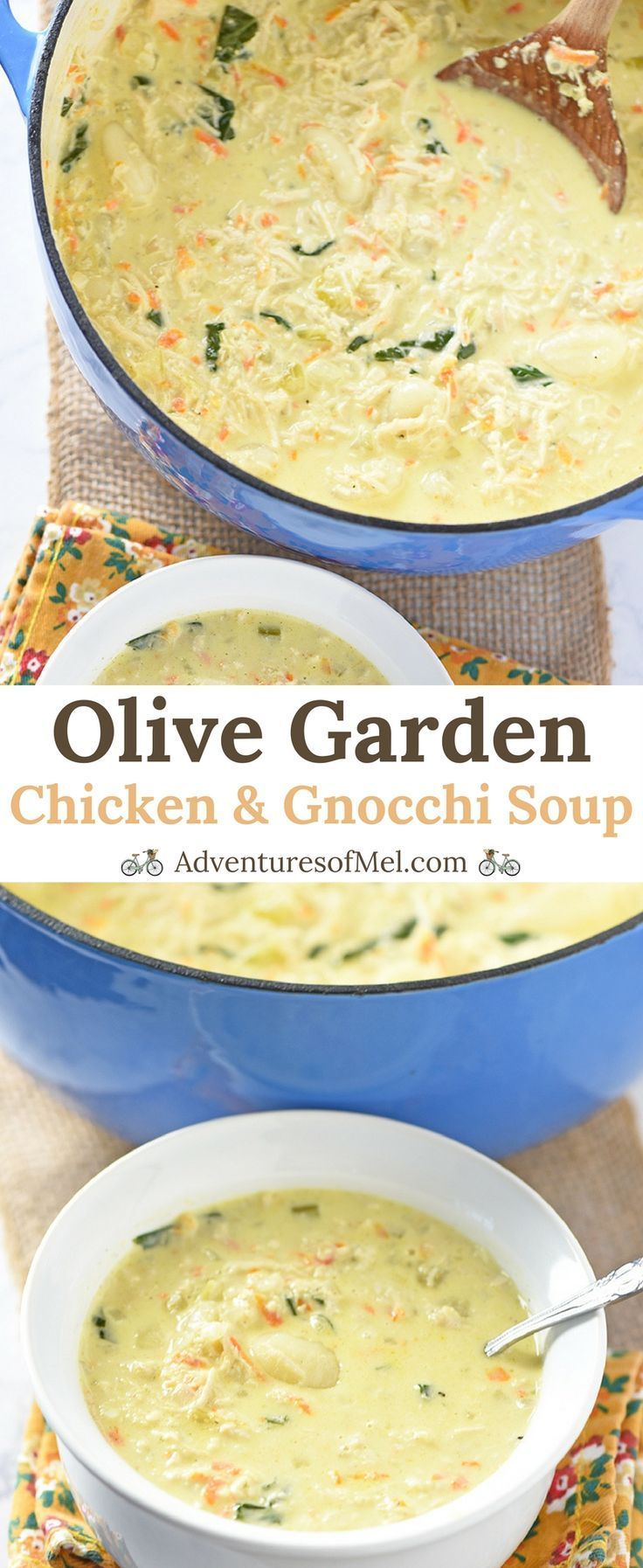 Olive Garden Chicken and Gnocchi Soup with chicken, spinach, and gnocchi. Easy copycat of the creamy restaurant soup, it makes a delicious lunch or dinner! #soups #chicken #copycat