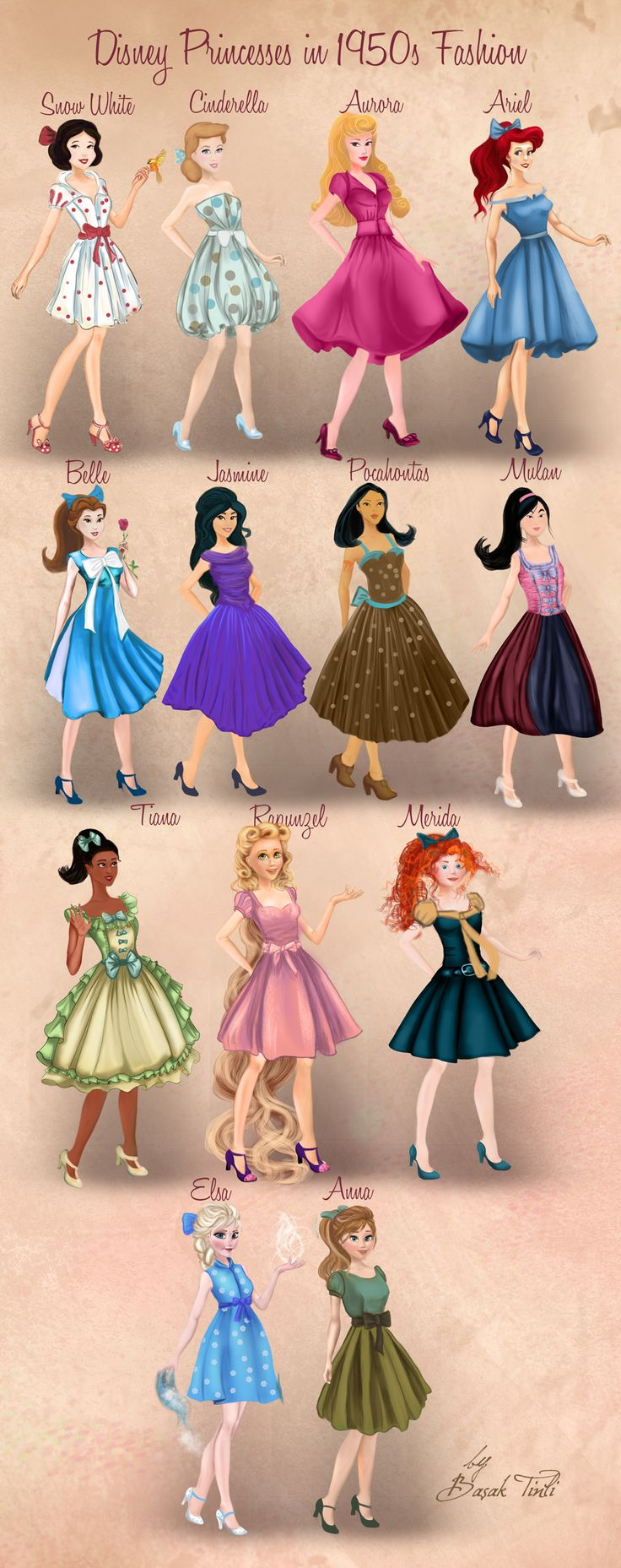 Disney Princesses in 1950s Fashion by Basak Tinli by BasakTinli.deviantart.com on @DeviantArt