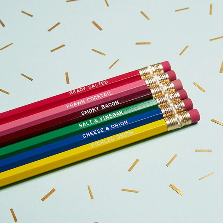 These 6 hand foiled pencils pay homage to all your favourite English crisps flavours.  Please note - they are not colouring pencils.   Ingredients:  CHEESE & ONION SALT & VINEGAR PICKLED ONION PRAWN COCKTAIL SMOKY BACON READY SALTED  Pencil Length: 19cm