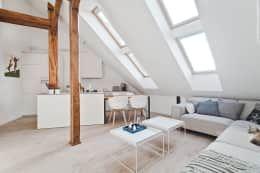Salas de estar escandinavas por superpozycja architekci