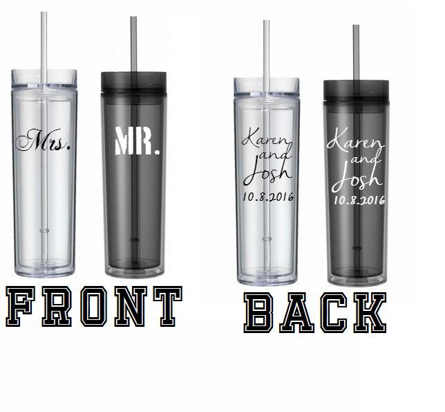 Set of 2, Mr and Mrs Smoke and Clear Tumblers, Customized Personalized Smoke Acrylic Skinny Tall 16oz Tumbler by MNCountryGifts on Etsy