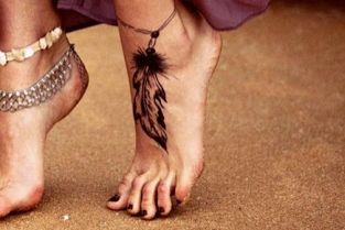 cute feather ankle tattoo design // idea for women. kinda hippie, dont you think?
