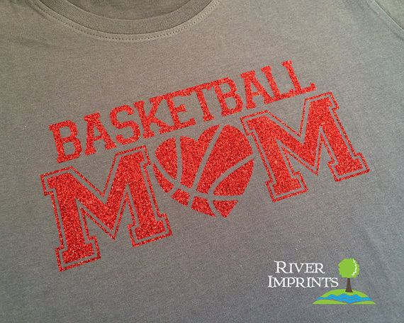 BASKETBALL MOM heart cursive sparkly glitter by RiverImprints, $17.00