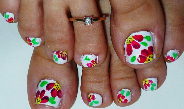 Summer Flowers Toe Nail Art Design - YouTube