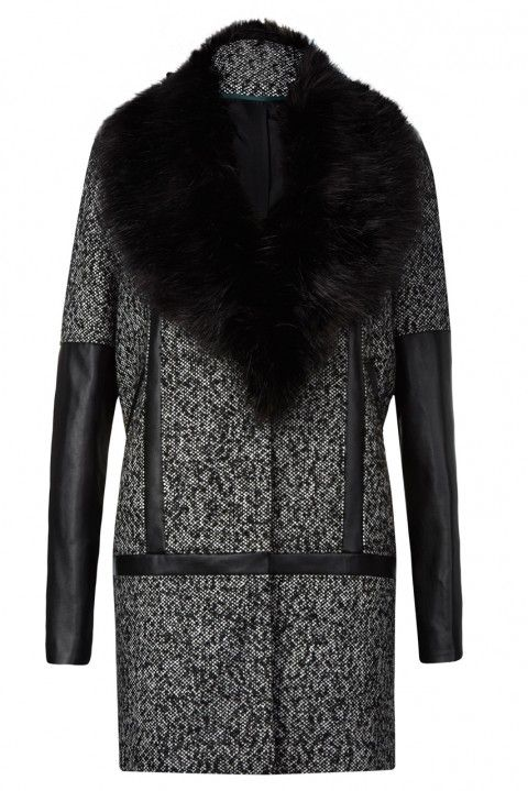 The bold fur collar and mix of textures make this one trendy coat!
