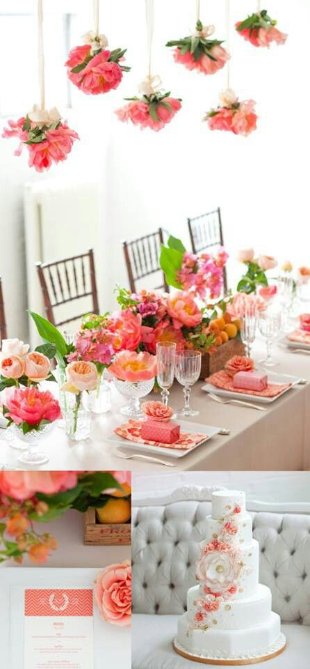 Coral peach and blood orange, love the centerpieces, love the hanging flowers