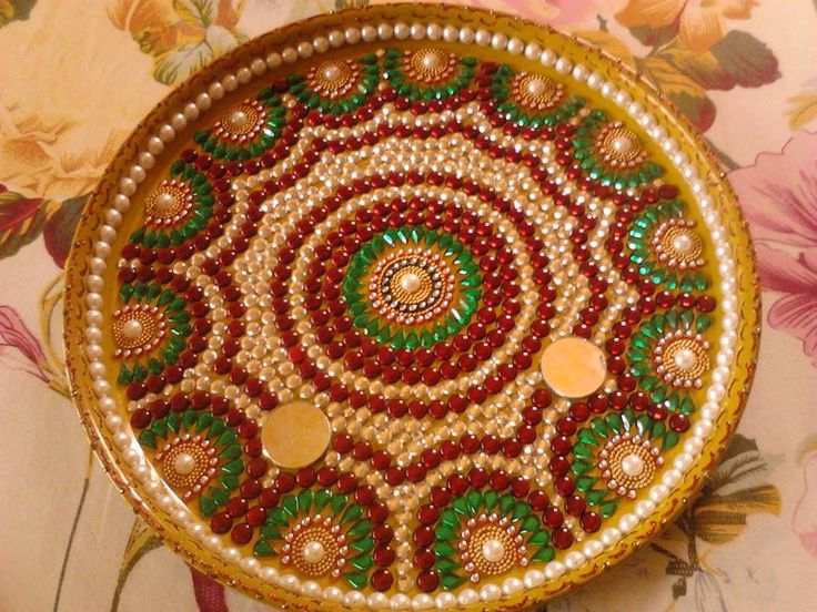 1000 images about kundan crafts on pinterest diwali for Aarti thali decoration with flowers