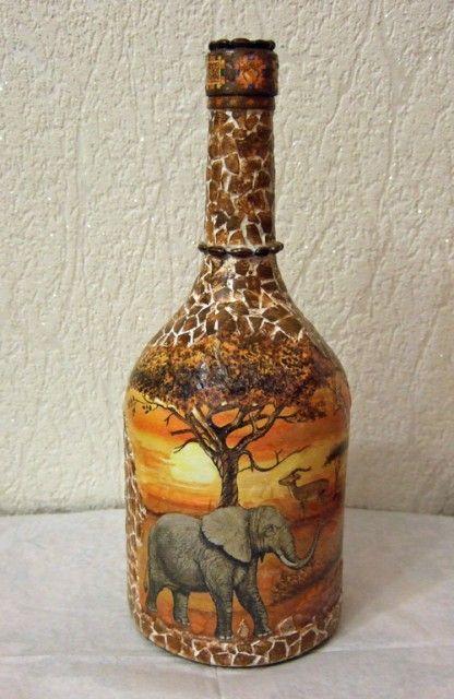 Декорирование бутылки от Светланы .Африканские мотивы. Обсуждение на LiveInternet - Российский Сервис Онлайн-Дневников