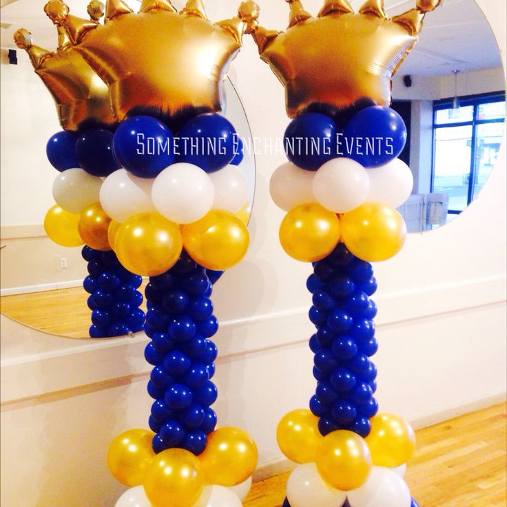 Gold crown balloon prince theme baby shower
