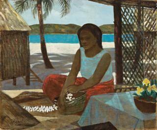NATIVE WOMAN WITH FRANGIPANI | Ray Crooke