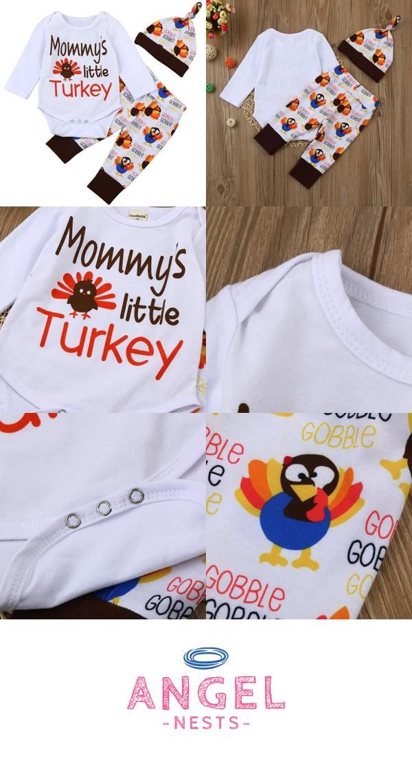 579bd47a4 Thanksgiving Baby Mommy's Little Turkey Bodysuit, Pant and Hat Set ...