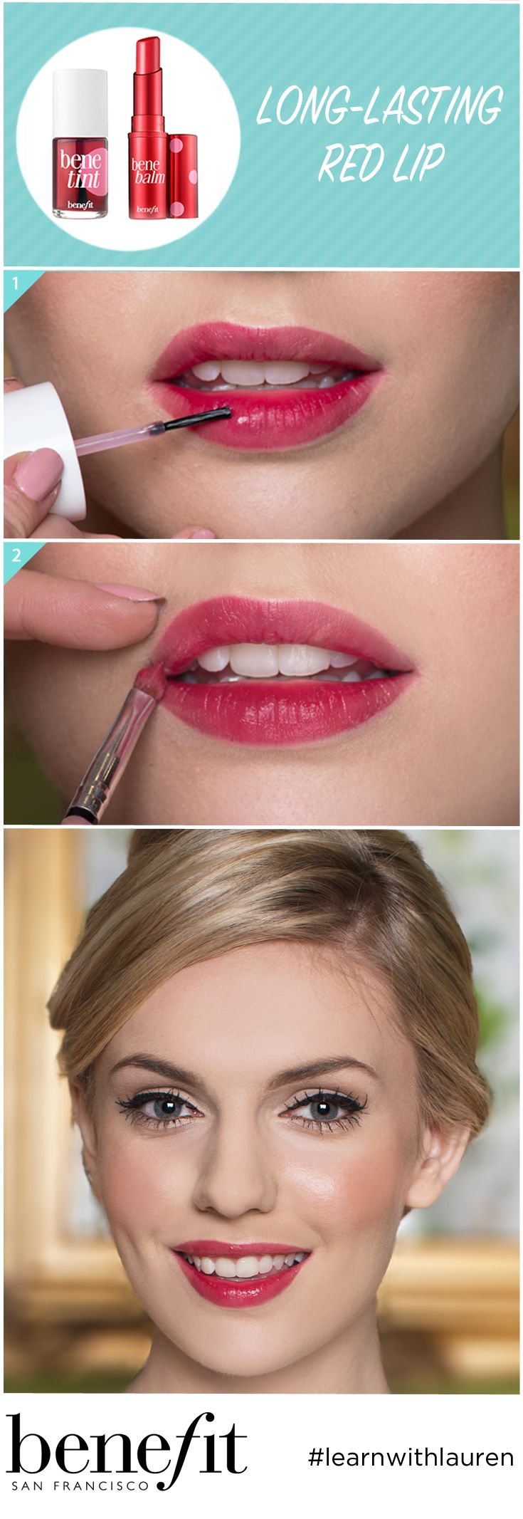 Fancy a red lip for your big day? You need a lip colour that will last! Opt for Benetint, and layer up on your lips. Leave to set, then add more! When you are happy with your lip colour, use a brush to apply benebalm over the top. This will keep your lips hydrated throughout your wedding day! We love this couture wedding look! xx