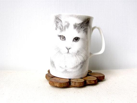 Vintage Cat Coffee Cup - Mug Sitting Cat Pencil Draw English Fine Bone China--Etsy
