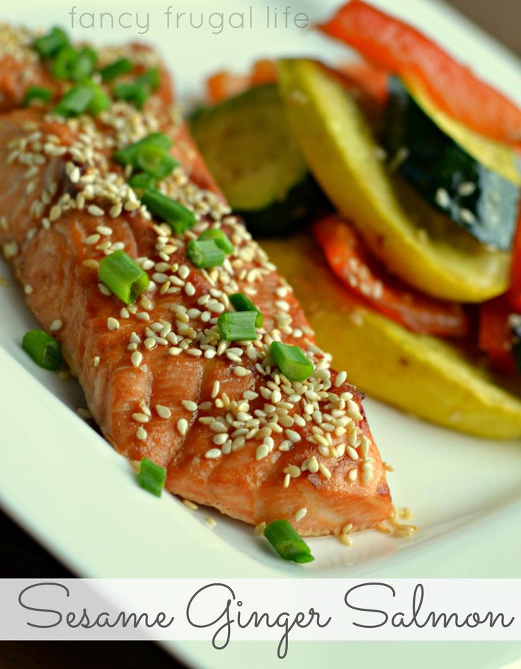 Broiled Sesame Ginger Salmon with Roasted Veggies Recipe  justin only wants salmon this way from here on out! More ginger...