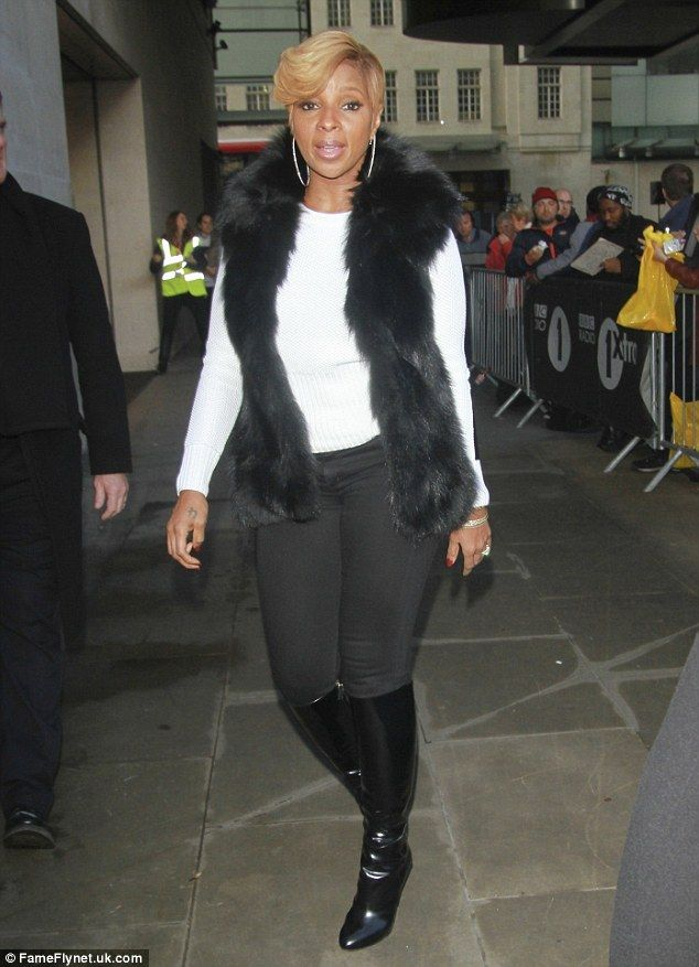 Gearing up for release: Mary J. Blige was pictured out promoting her new project The London Sessions in London on Friday, leaving the BBC Radio 1 studios after appearing on Annie Mac's show